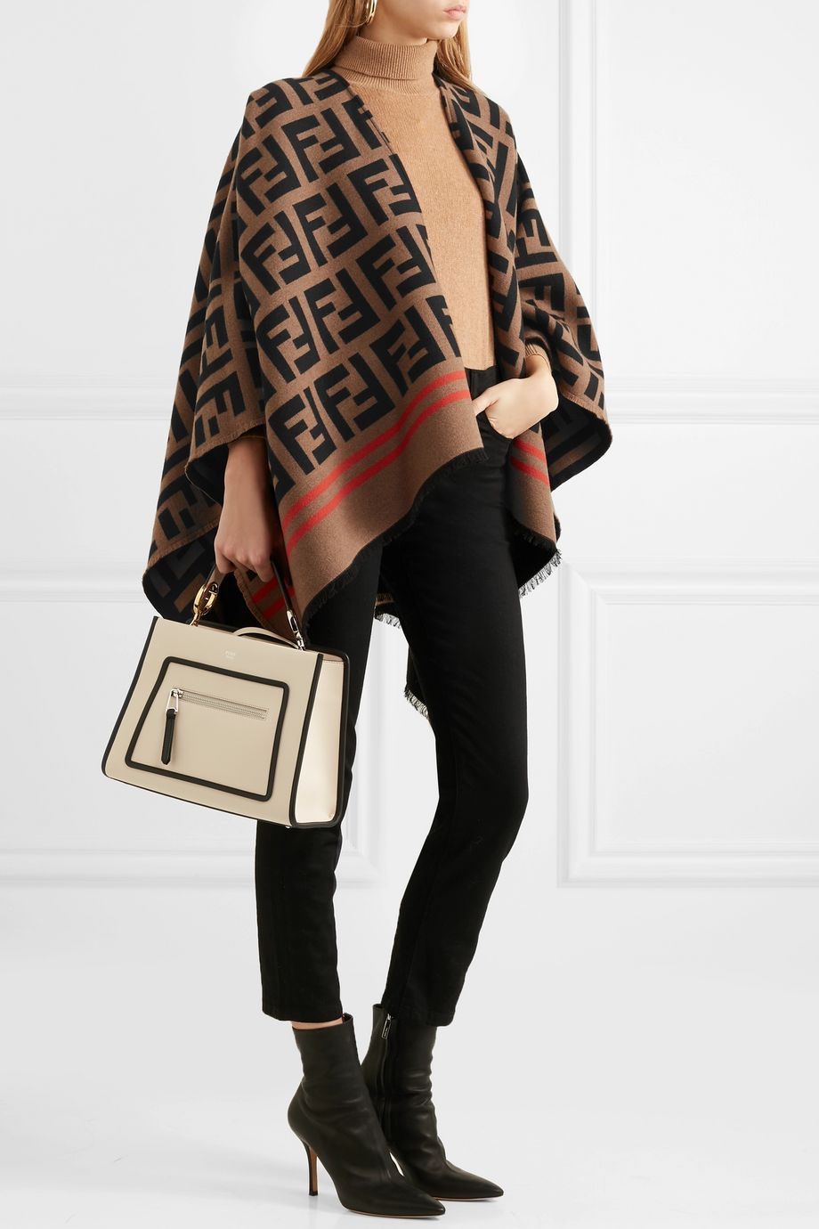 Fendi Frayed wool and silk-blend jacquard poncho