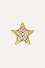 Boucle d'oreille en or 14 carats et diamants Mini Star