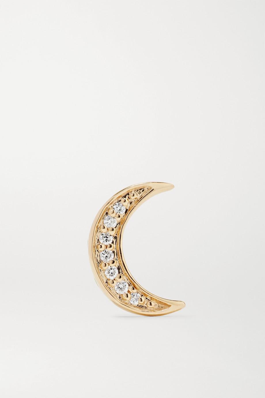 Andrea Fohrman Mini Crescent 14-karat gold diamond earring
