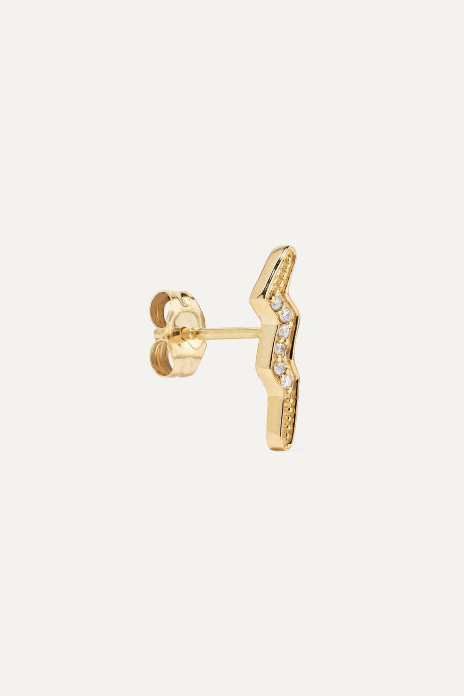 Andrea Fohrman Boucle d'oreille en or 14 carats et diamants Mini Lightning Bolt
