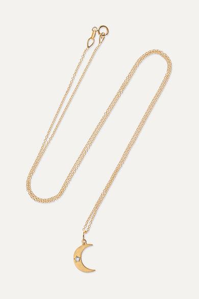 ANDREA FOHRMAN | Andrea Fohrman - Crescent Moon 18-karat Gold Diamond Necklace - one size | Goxip