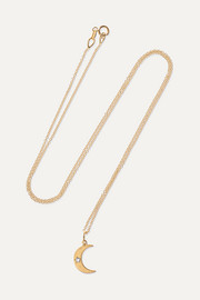 Crescent Moon 18-karat gold diamond necklace