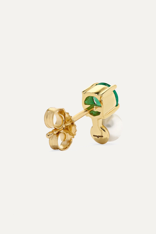 Jemma Wynne 18-karat gold, emerald and pearl earring