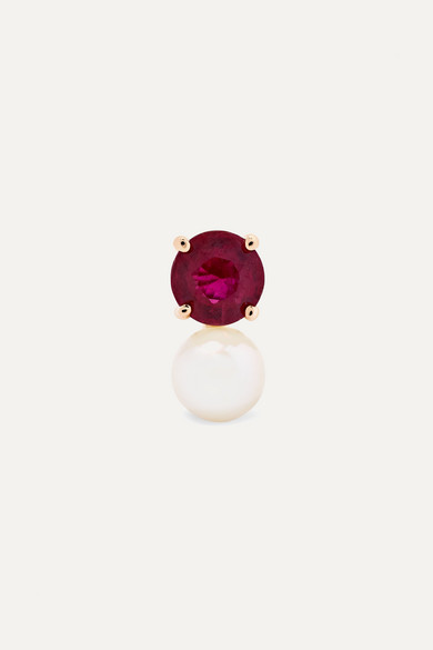 JEMMA WYNNE 18-Karat Rose Gold, Ruby And Pearl Earring