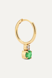 18-karat gold, emerald and diamond hoop earring