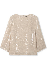 Sequined gauze top