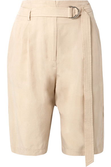 SALLY LAPOINTE | Sally LaPointe - Belted Crepe Shorts - Beige | Goxip