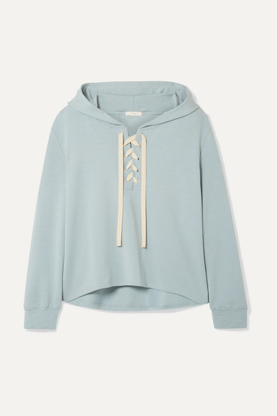 EBERJEY | Eberjey - Mason Lace-Up Stretch-Pima Cotton And Modal-Blend Hoodie - Sky Blue | Goxip
