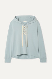 Mason lace-up stretch-Pima cotton and modal-blend hoodie