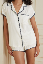 Eberjey Frida whipstitched stretch-modal jersey pajama set