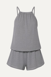 Eberjey Striped Pima cotton-jersey playsuit