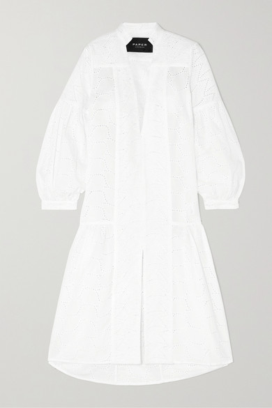 Paper London Dresses BRODERIE ANGLAISE COTTON MIDI DRESS