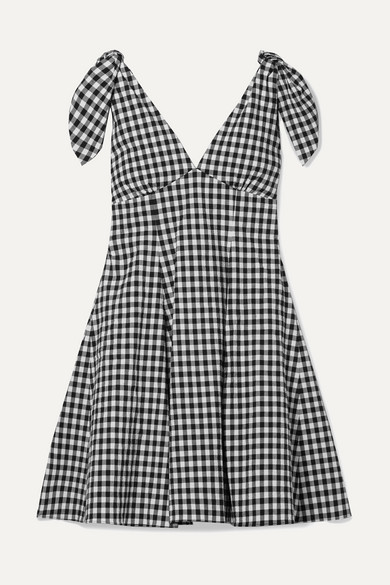 Paper London Dresses LILY GINGHAM COTTON-BLEND SEERSUCKER MINI DRESS