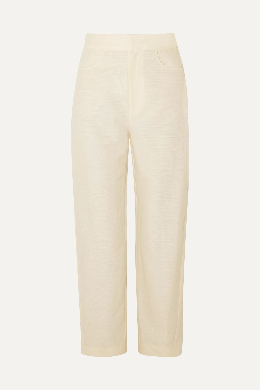 Totême Novara cotton and linen-blend straight-leg pants
