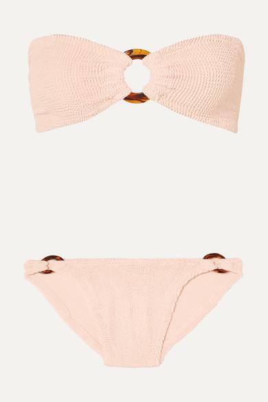 Bikini Bandeau En Crépon À Ornements Gloria - Rose Poudré