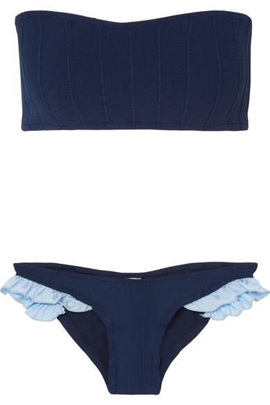 Twosret Trimmed Ruffle Bandeau Seersucker Ribbed Bikini 8wnP0Ok