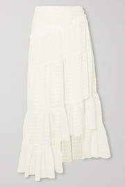 Asymmetric tiered seersucker skirt