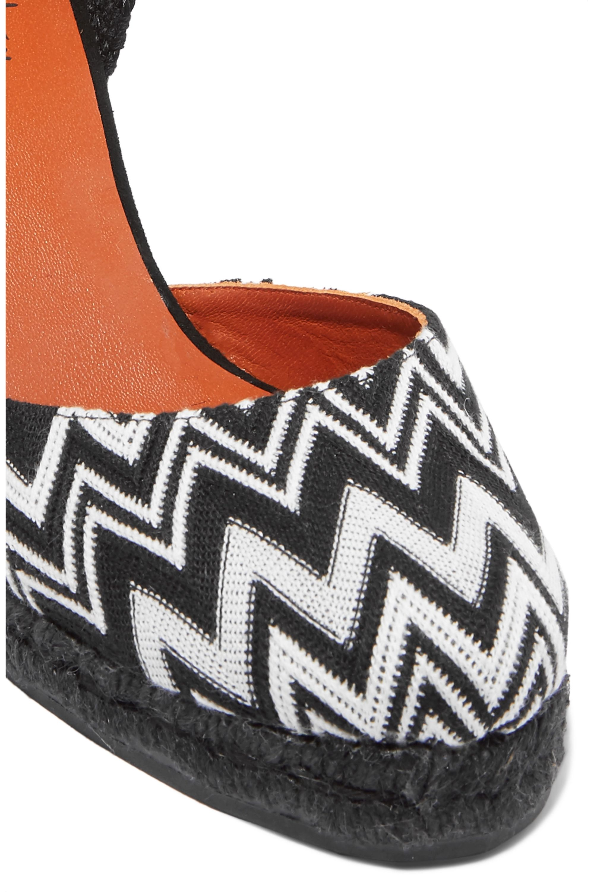 Castañer + Missoni Carina 80 crocheted canvas wedge espadrilles