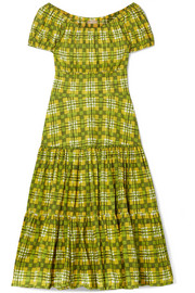 Off-the-shoulder checked tiered cotton-poplin midi dress