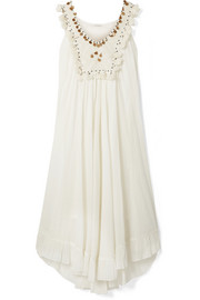 Bodega embellished embroidered cotton-voile dress