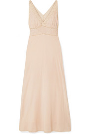Gibson lace-trimmed broderie anglaise cotton-blend maxi dress