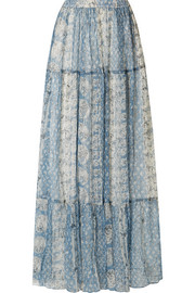 Buenavista tiered printed crepon maxi skirt