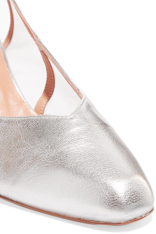 REJINA PYO Alison metallic leather and mesh slingback pumps