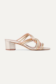 Jada knotted metallic leather mules