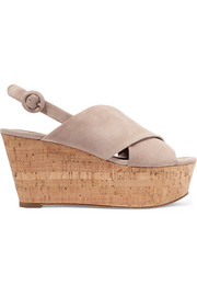 Juno suede slingback wedge sandals
