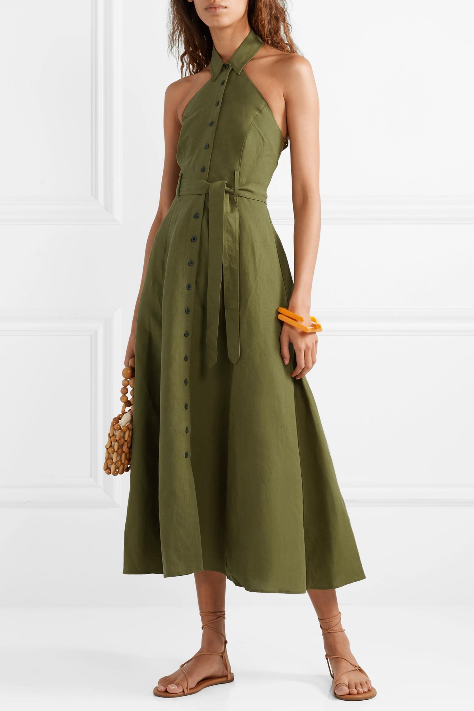 Mara Hoffman + NET SUSTAIN Rosemary Tencel and linen-blend halterneck maxi dress