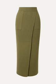 + NET SUSTAIN Elena wrap-effect ribbed organic cotton skirt