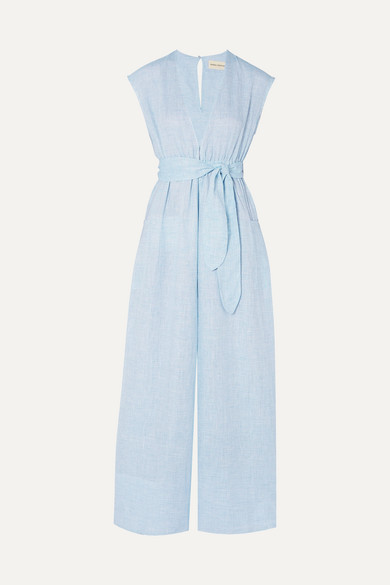 Mara Hoffman Beachwear + NET SUSTAIN Whitney striped hemp jumpsuit
