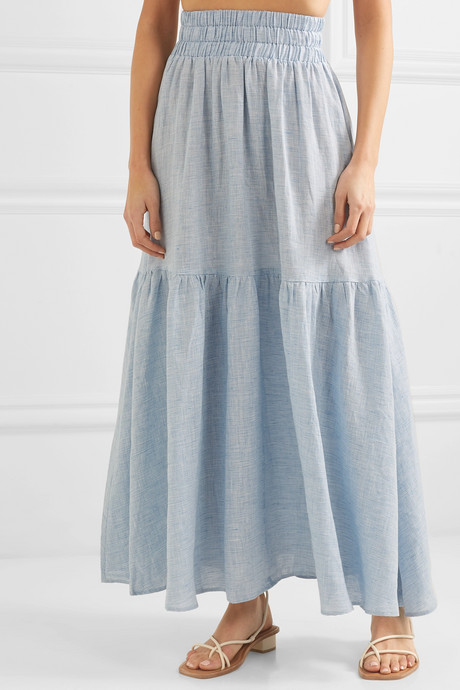Carmen tiered striped hemp maxi skirt