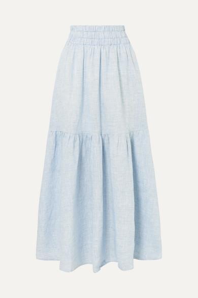 MARA HOFFMAN | Mara Hoffman - Carmen Tiered Striped Hemp Maxi Skirt - Sky Blue | Goxip