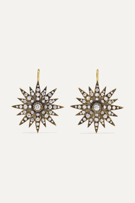 Gold 18-karat gold diamond earrings   Sylva & Cie nB2nV5