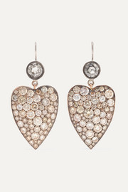 Boucles d'oreilles en or blanc 18 carats, or rose 14 carats et diamants