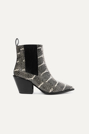 Kate snake-effect leather ankle boots