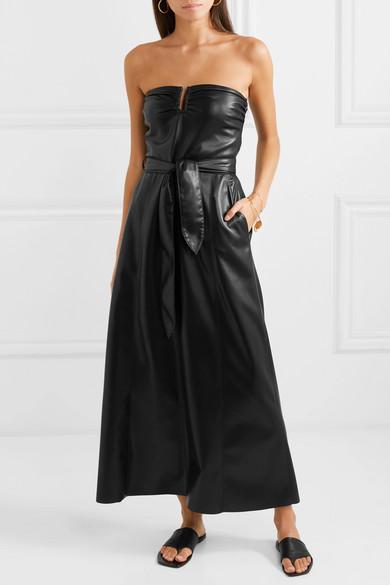 Nanushka | Anja strapless vegan faux leather midi dress