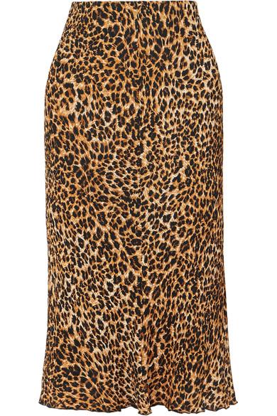 Nanushka Skirts Zarina leopard-print stretch plissé-jersey midi skirt