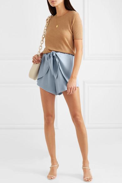 Nanushka Shorts Naila knotted silk-charmeuse shorts