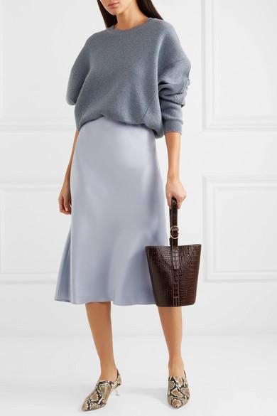 Nanushka Skirts Zarina stretch hammered-satin midi skirt