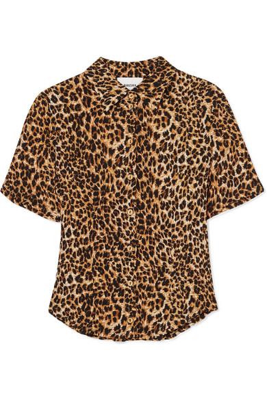 Nanushka T-shirts Clare leopard-print stretch plissé-jersey shirt