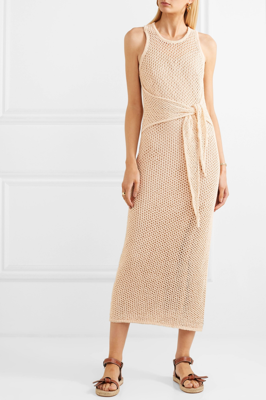 Nanushka Mame 系带细节棉质超长连衣裙