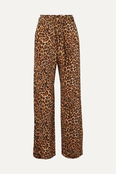 Nanushka Pants Luma leopard-print stretch plissé-jersey straight-leg pants