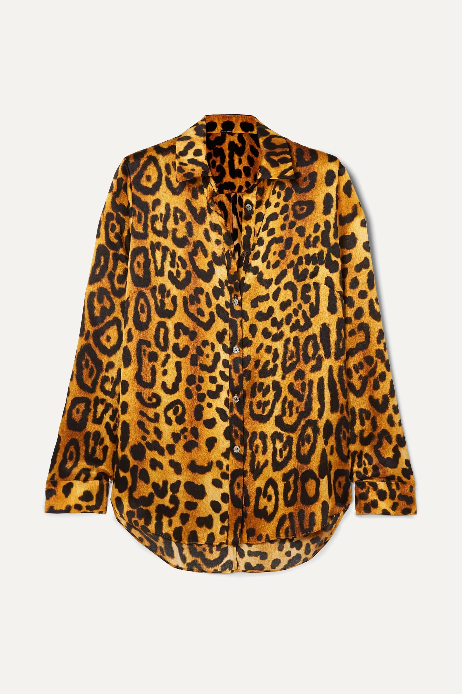 Adam Lippes Leopard-print hammered silk-crepe shirt