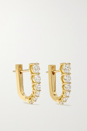 Aria U Huggie 18-karat gold diamond earrings