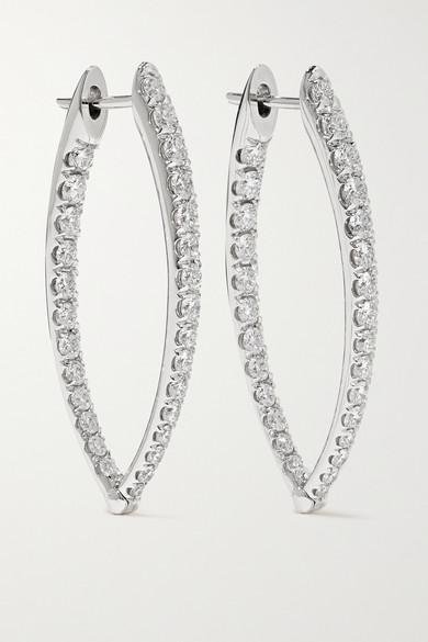 MELISSA KAYE Cristina Medium 18-Karat White Gold Diamond Earrings