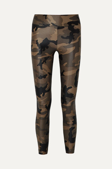 KORAL | Koral - Lustrous Camouflage-print Stretch Leggings - Army green | Goxip
