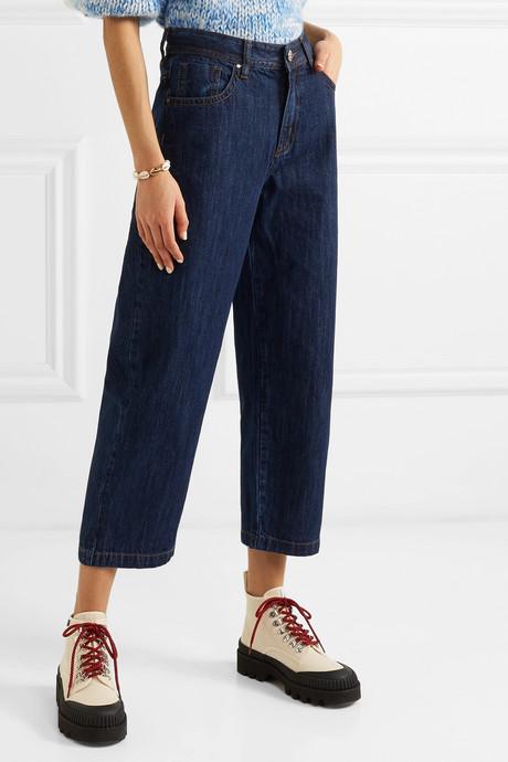 Big Boys cropped high-rise wide-leg jeans