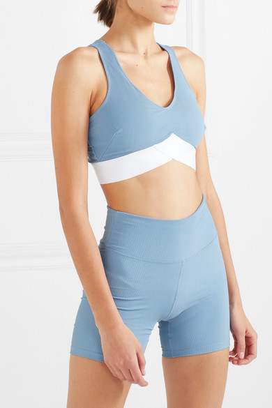 102bda01e5c4a Heroine Sport. Two-tone ribbed stretch sports bra